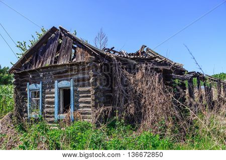 Old wooden abandoned house after the fire overgrown with grass and bushes