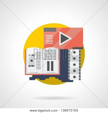 Abstract media player, filmstrip and brochure for cinema, theater, festival, premiere and others. Movie review symbol. Entertainment industry. Round detailed flat color style vector icon.