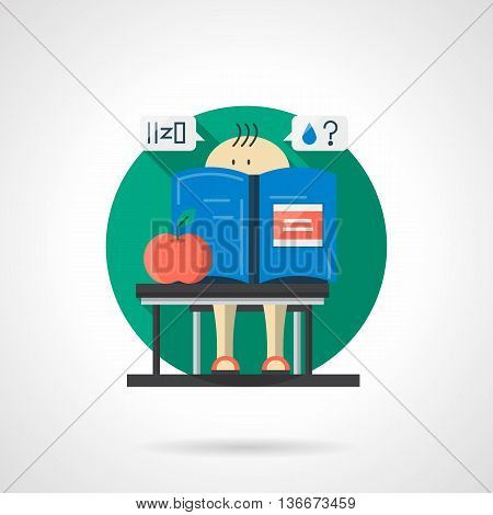 Little schoolchild with blue book and red apple at a school lesson. Chemistry for children. Round single detailed flat color vector icon. Web design element for business, site, mobile app.