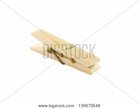 clothespin wood isolated on a white background