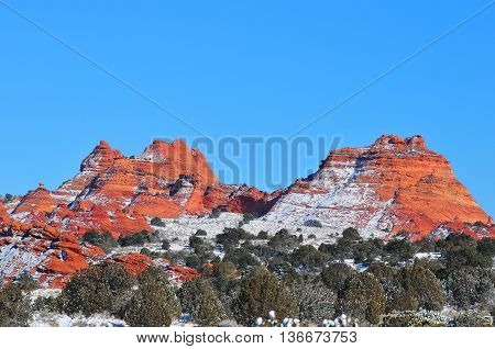 Blue sky and snow at Coyote Buttes Arizona in winter usa