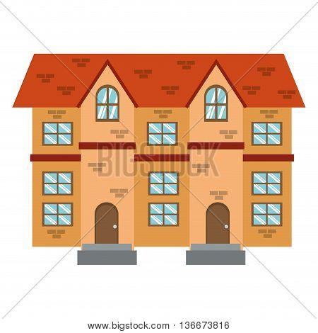 simple flat design brick building icon vector illustration