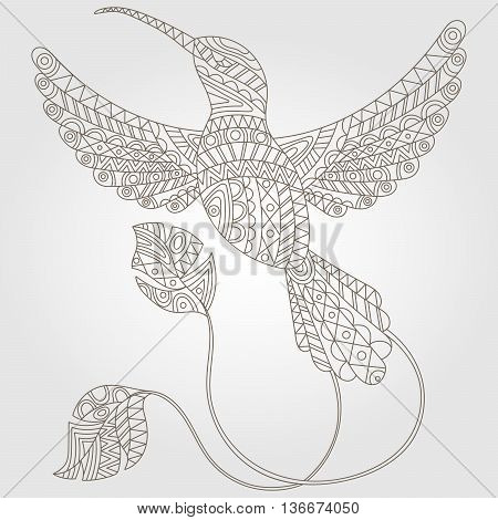 Contour illustration of abstract hummingbird dark outline on a light background
