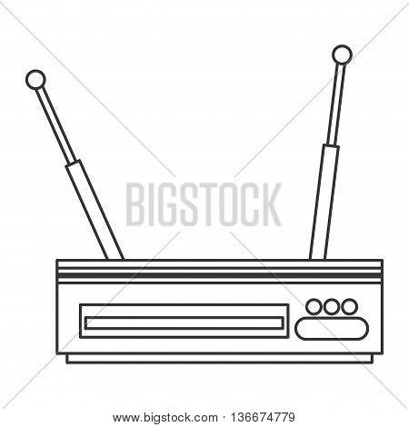 simple line design wi-fi router modem icon vector illustration