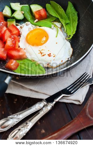 Fried Eggs Frying Pan Tomatoes Cucumber Breakfast