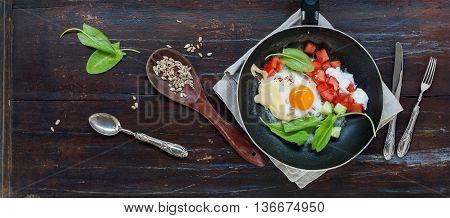 Fried Eggs Pan Tomatoe Healthy Vegetable Breakfast