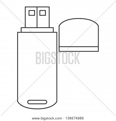 simple line design usb flash drive icon vector illustration
