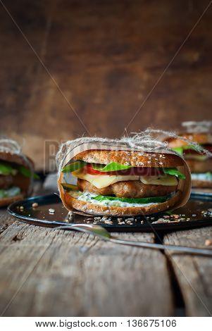 Homemade Hamburgers Pork Cheese Food Rustic Style