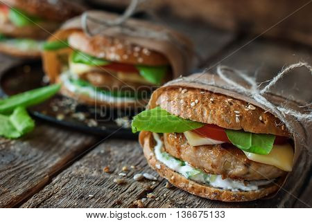 Homemade Traditional Burgers Rustic Wooden Style