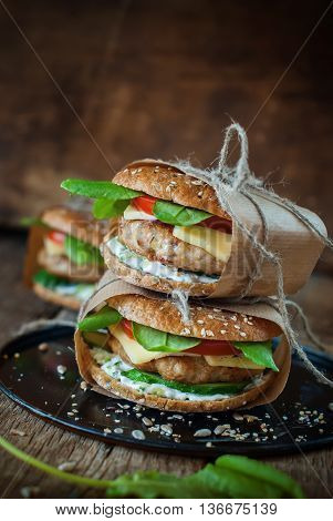 Homemade Traditional Hamburgers Pork Vegetables