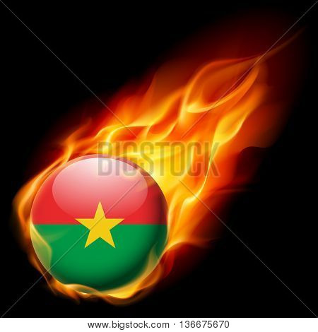 Flag of Burkina Faso as round glossy icon burning in flame