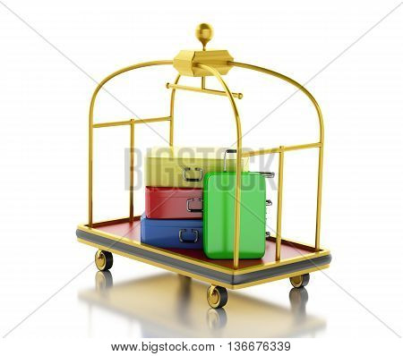 3d renderer image. Luggage cart with colorful suitcases. Isolated white background.