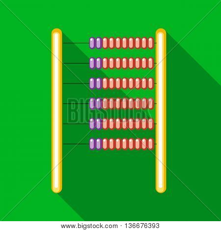 Abacus icon in flat style on a green background