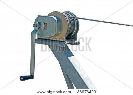boat trailer hand winch isolated on white background