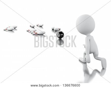 3d renderer image. White people playing bowling and making a strike. Isolated white background.