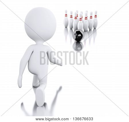 3d renderer image. White people playing bowling. Isolated white background.