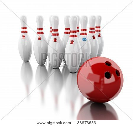 3d renderer image. Bowling pins and red ball. Isolated white background.