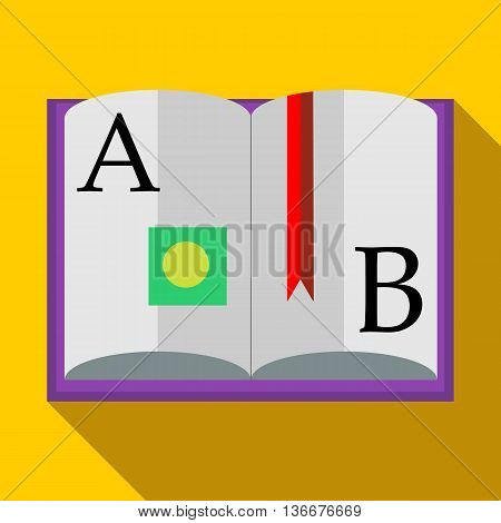 ABC Book icon in flat style on a yellow background