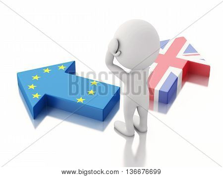 3d renderer illustration. Arrows with Great Britain and European Union flag. Brexit concept. Isolated white background