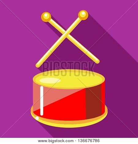 Toy drum with drumsticks icon in flat style on a fuchsia background