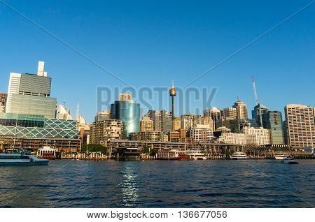 Sydney CBD view of Darling Harbour King Street Wharf and Sydney Tower. Office commercial and residential skyscraper buildings of Sydney Central Business District