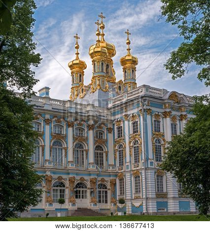 Saint-Petersburg, Russia - June 26, 2016: Golden domes of the Church in the Catherine Palace. Tsarskoye Selo. Church in Baroque style arranged in the north wing of the Catherine Palace.