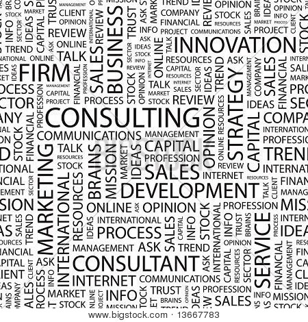 CONSULTING. Seamless vector pattern with word cloud. Illustration with different association terms.