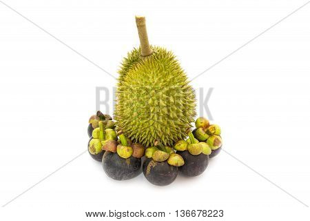 Durian King of fruits and Mangosteen queen of fruits isolated on white background is most popular in Thailand and International