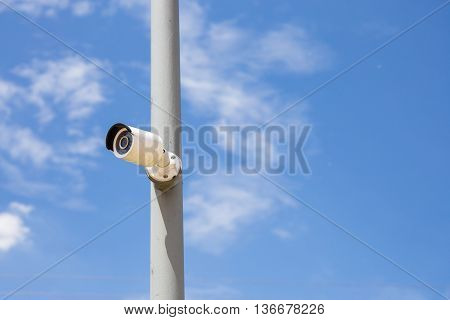 Security Day & Night IP cameras for the safety with blue sky background. Technology IP cameras