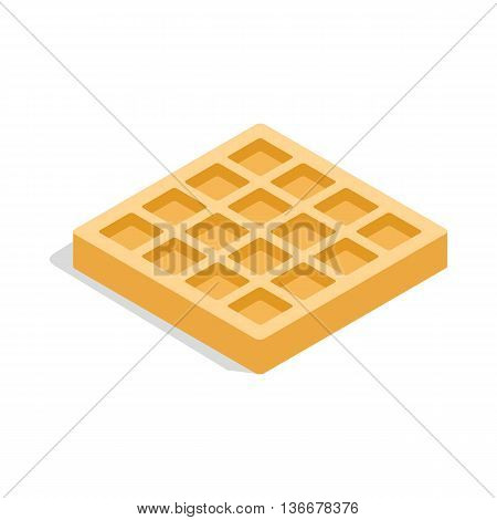 Waffles icon in isometric 3d style isolated on white background. Food symbol