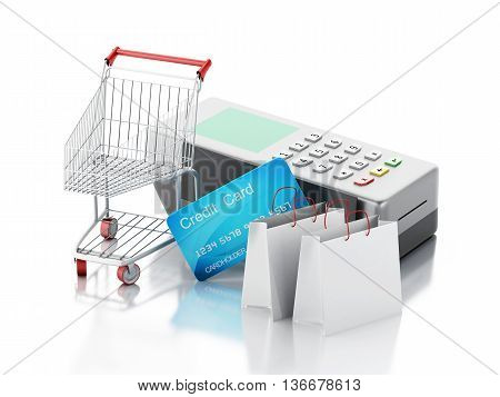 3d renderer image. Credit card and card reader with shopping cart and bags. Isolated white background.