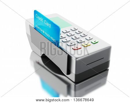 3d renderer image. Credit card and card reader. Isolated white background.
