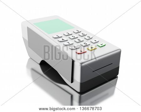 3d renderer image. Card reader bank terminal. Isolated white background.