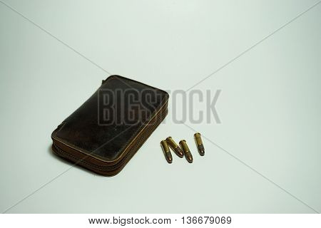 bullets .22 mm with a leather case on white background
