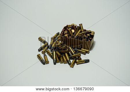 Many Bullets .22 mm on white background