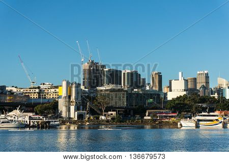 Sydney Australia - Apr 25 2016:Sydney cityscape with Barangaroo office skyscrapers on the background. City view of Barangaroo district and CBD. Commercial and residential buildings