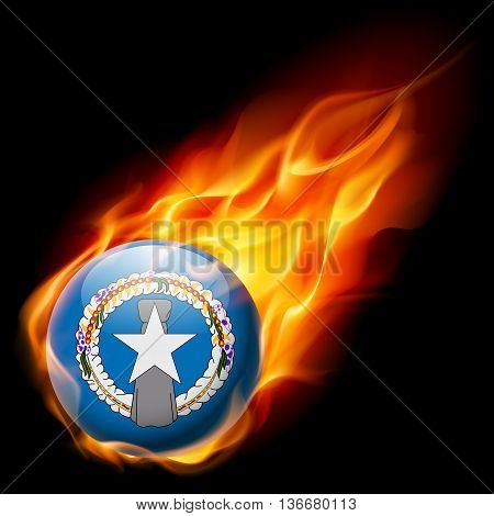 Flag of Northern Mariana Islands as round glossy icon burning in flame