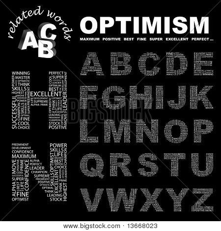 OPTIMISM. Vector letter collection. Illustration with different association terms.