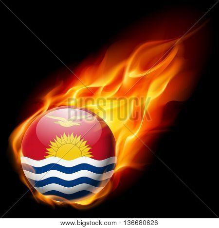 Flag of Kiribati as round glossy icon burning in flame