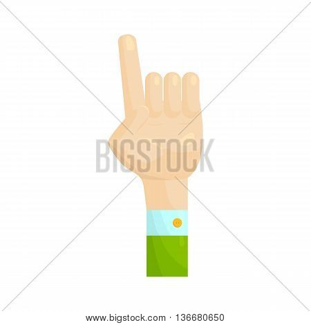 Forefinger up gesture icon in cartoon style on a white background