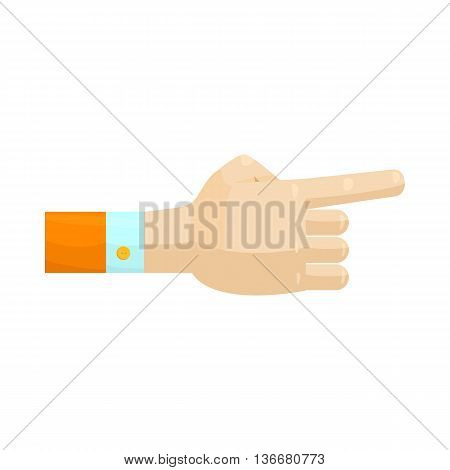 Pointing hand gesture icon in cartoon style on a white background