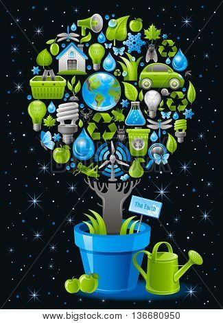 Ecological design with ecology nature symbols icon set in tree. With watering can, flower pot and apples. Black background. Environment protection concept includes group of ecological objects