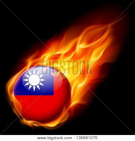 Flag of Taiwan as round glossy icon burning in flame