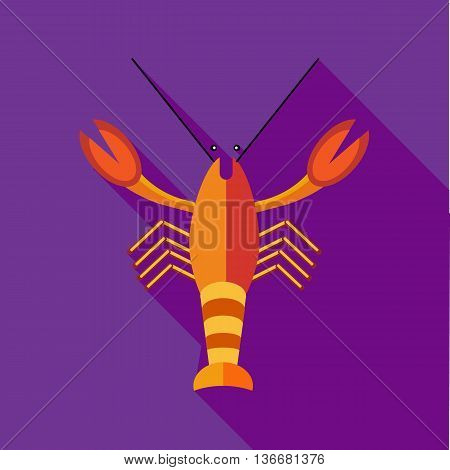 Crayfish icon in flat style on a plum background