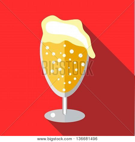 Wine goblet of beer icon in flat style on a red background