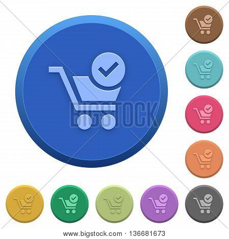 Set of round color embossed checkout buttons