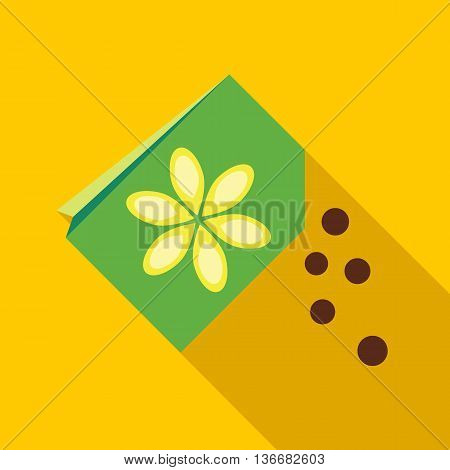 Paper bag with flower seeds icon in flat style on a yellow background