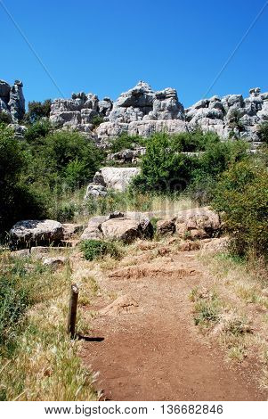 View of Karst mountains in El Torcal National Park Torcal de Antequera Malaga Province Andalusia Spain Western Europe.