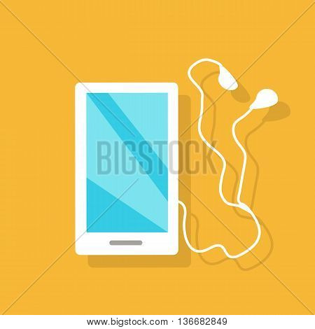 White smartphone with headphones, earpieces, earphones, ear flaps. Mobile multimedia blue user interface on phone screen. Flat design style vector illustration