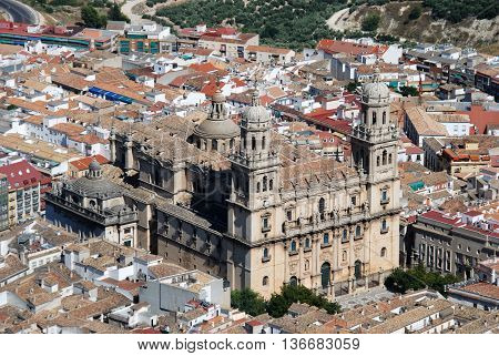 View of the Cathedral and surrounding city rooftops Jaen Jaen Province Andalucia Spain Western Europe.